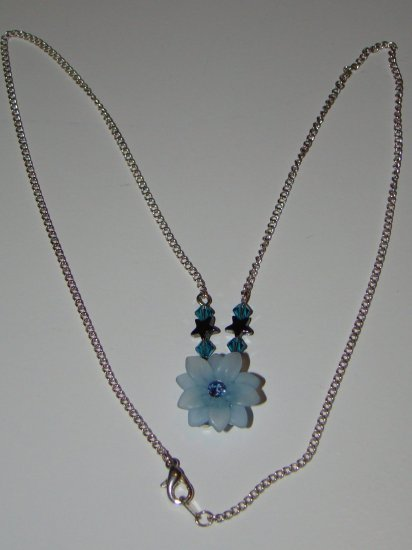 Blue Flower Swarovski Necklace