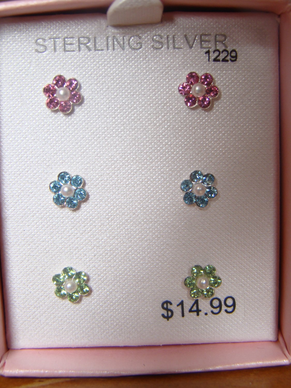 Sterling Silver 3pc Flower earring set