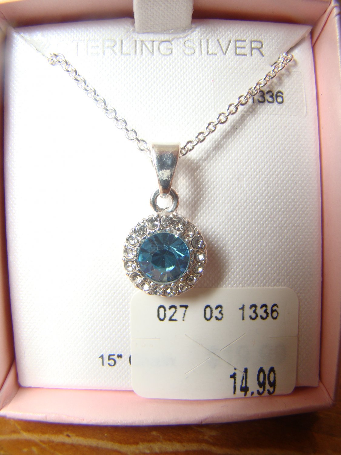 Sterling Silver Necklace with Blue Stone & Surrounding CZ stones