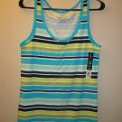 Faded glory green and blue striped tank XXL NWT