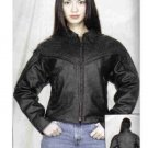 Ladies Cowhide Leather MC Jacket w/ Braid (Medium)