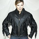 Ladies Cowhide Leather MC Jacket w/ Braid & Fringe (Medium)