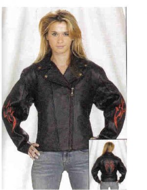 Ladies Motorcycle Jacket with embossed Flame (Small)