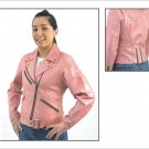 Ladies Soft Leather Pink MC Jacket  (Medium)