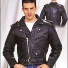 MJ704-01  Mens Naked Cowhide Leather MC Jacket (Medium)