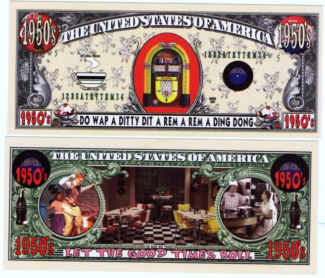 1950's Jukebox Coca Cola Diner Soda Shop Dollar Bill