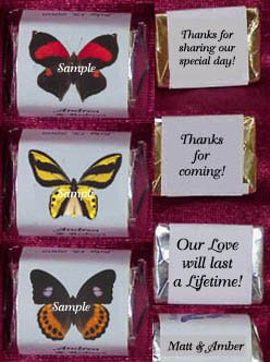Cashier Check Wedding Gift : 150 Wedding Bridal Shower Butterfly Themed Nugget Candy Wrappers