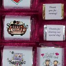 150 Wedding Bridal Shower Just Married Themed Nugget Candy Wrappers
