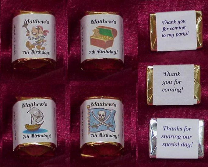YO HO 150 Birthday Party PIRATE THEMED Candy Labels Wrappers Favors