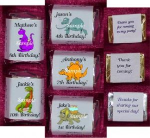 150 DINOSAUR THEMED BIRTHDAY PARTY candy Wrappers Favors
