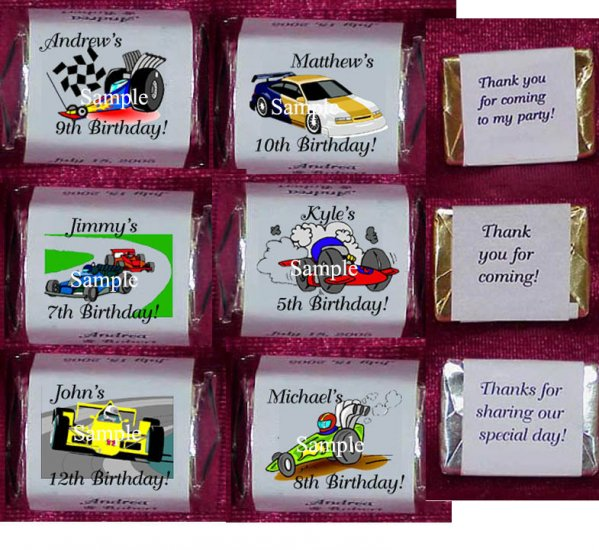 150 RACE CAR CARS THEMED BIRTHDAY PARTY CANDY Wrappers Favors
