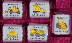 150 Birthday CONTRUCTION TRUCKS THEMED Candy Labels Wrappers Favors