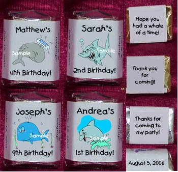 150 WHALES SHARKS DOLPHINS THEMED BIRTHDAY PARTY CANDY Wrappers Favors