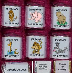 150 ZOO  JUNGLE ANIMALS THEMED BIRTHDAY PARTY Custom CANDY Wrappers Favors