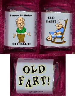 150 Birthday OVER THE HILL OLD FART THEMED Candy Wrappers Favors