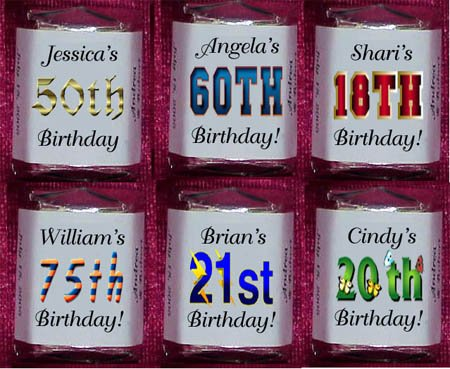 150 BIRTHDAY 30th 40th 50th THEMED Candy Wrappers Favors ANY AGE