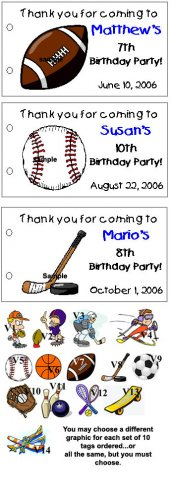 SPORTS BIRTHDAY Party Lollipop Favors Tags Girl Boy