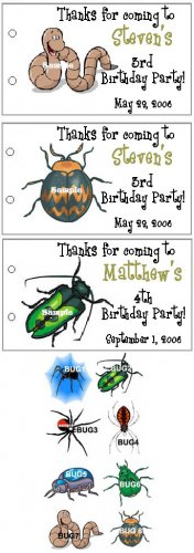 BUGS SPIDERS BIRTHDAY Party Lollipop suckers Favors Tag
