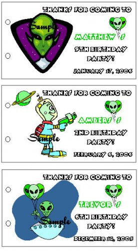SPACE ALIEN BIRTHDAY Party Lollipop suckers Favors Tags