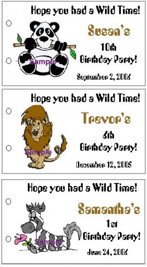 ZOO ANIMALS BIRTHDAY Party Lollipop suckers Favors