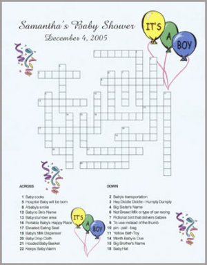 Personalized Custom Baby Shower Announcement Party Crossword Puzzles