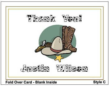Kid COWBOY WESTERN Birthday Thank You Cards Notes Kids