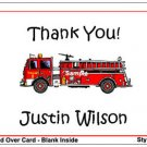 Kid FIRETRUCK FIREMAN Birthday Thank You Cards Notes