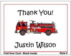 Kid FIRETRUCK FIREMAN Birthday Thank You Cards Notes