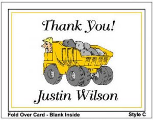 Kid CONSTRUCTION TRUCKS Birthday Thank You Cards Notes