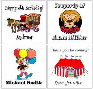 Circus (self-stick) Gift Favor Tags
