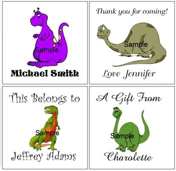 Dinosaur (self-stick) Gift Favor Tags