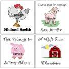 FARM ANIMALS (self-stick) Gift Favor Tags