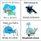 WHALES SHARKS DOLPHINS (self-stick) Gift Favor Tags
