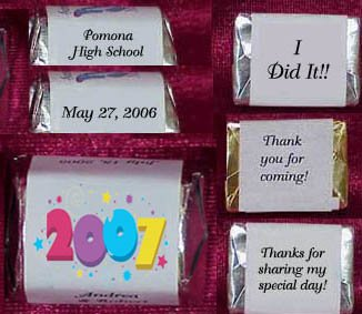 150 GRADUATION 2007 MULTI Candy Custom Wrappers PARTY Favors