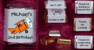 150 Birthday AIRPLANES THEMED Candy Labels Wrappers Favors