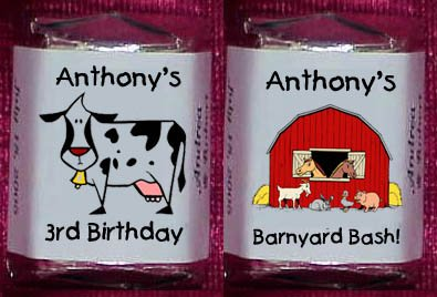 150 Birthday FARM ANIMALS THEMED Candy Labels Wrappers Favors