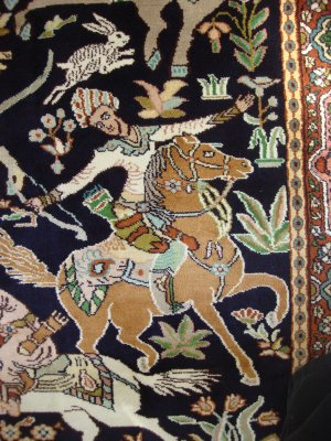 THE MONGUL HUNTING PARTY silk 1600 KPSI Antique