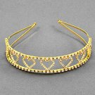 Goldtone Clear Rhinestone Heart Headband