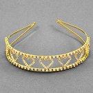 Goldtone Clear Rhinestone Heart Headband