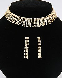 Clear Rhinestone Chocker Set In Goldtone