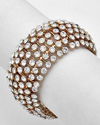 Goldtone / Clear Crystals / Stretch Bracelet