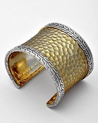 Silvertone / Gold Plated Cuff Bracelet W/ Snake Skin Texture