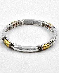 Antique Silver Stone Stretch Bracelet