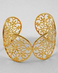 Gold Tone / Flower Design / Lead Free / Cuff / Bracelet
