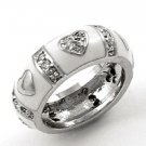 Silvertone / White Epoxy Heart Design / Clear Cubic Zirconia Ring