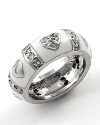 Silvertone / White Epoxy Heart Design / Clear Cubic Zirconia Ring