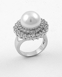 Silvertone / Clear Cubic Zirconia / White Faux Pearl
