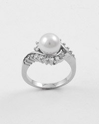 Silvertone / White Faux Pearl / Clear Cubic Zirconia Ring