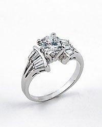 Rhodium Cubic Zirconia Ring