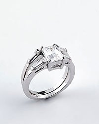Princess Cut Cubic Zirconia Rhodium Plating Two Ring Bands